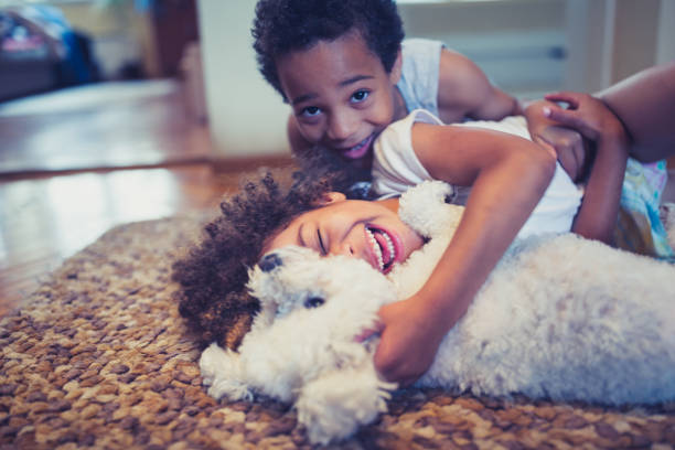 Cute, mixed race siblings and their dog stock photo