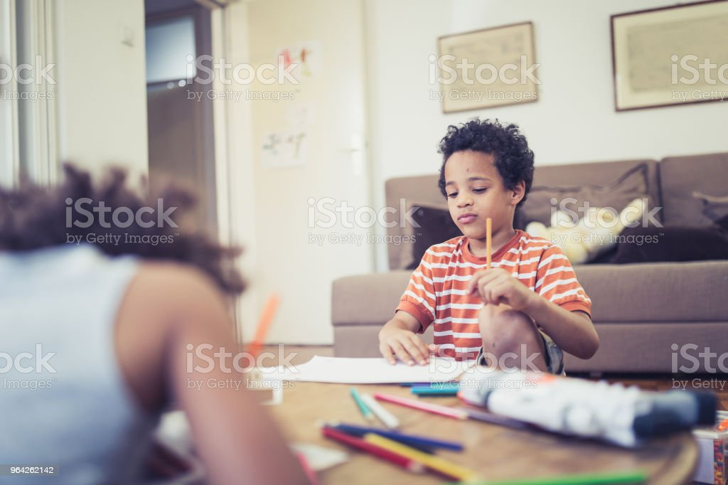 Cute mixed - race siblings playing at home stock photo