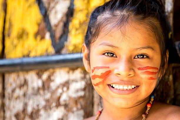 Cute Native Brazilian girl in Amazon, Brazil stock photo