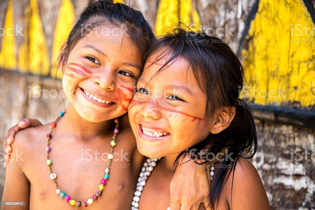 Cute Native Brazilian girls in Amazon, Brazil stock photo