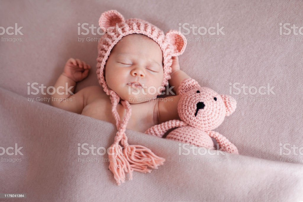 Cute Newborn Baby Girl Sleeping With Teddy Bear Stock Photo Download Image Now Istock
