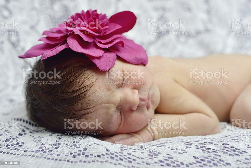 Cute newborn baby stock photo