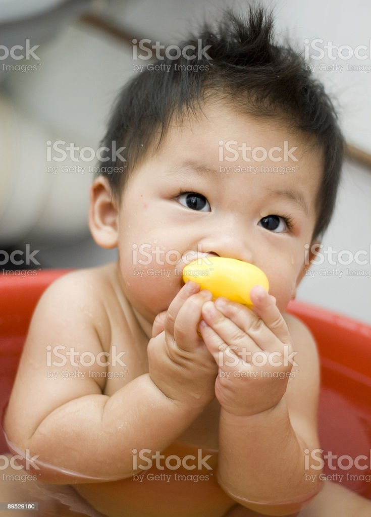 Cute nine month old Asian baby boy royalty-free stock photo