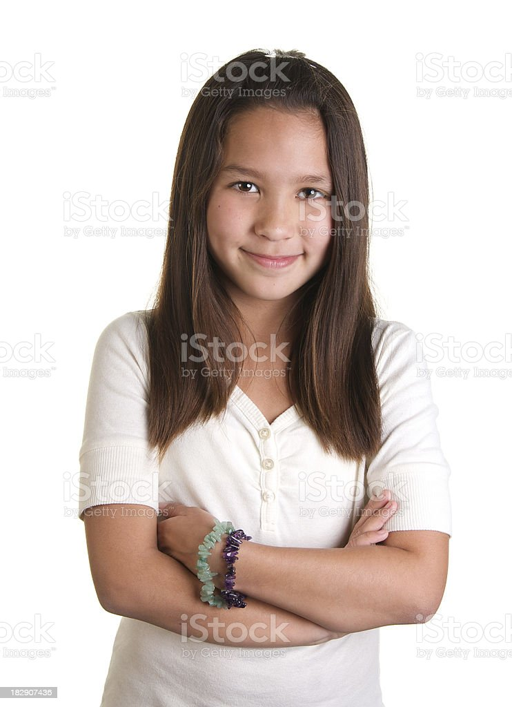 Cute Nine Year Old Girl With Long Brown Hair Smiling royalty-free stock photo