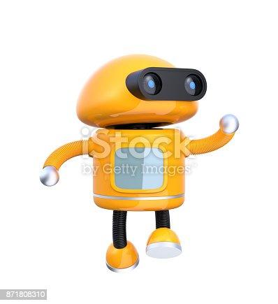 678279896 istock photo Cute orange robot dancing on white background 871808310