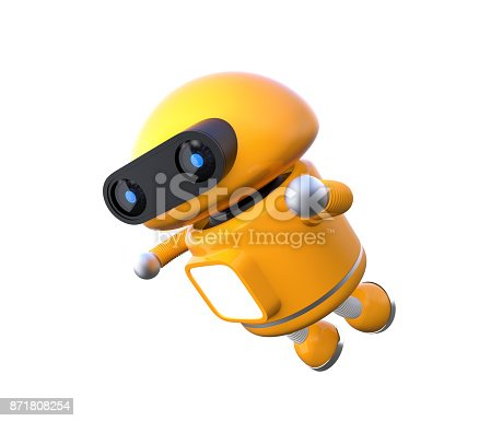 678279896 istock photo Cute orange robot is floating in the air 871808254