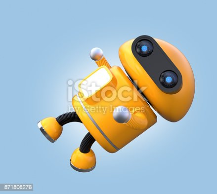 678279896 istock photo Cute orange robot is floating in the air 871808276
