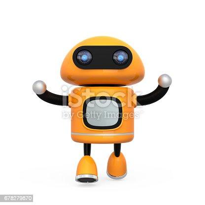 678279896 istock photo Cute orange robot isolated on white background 678279870