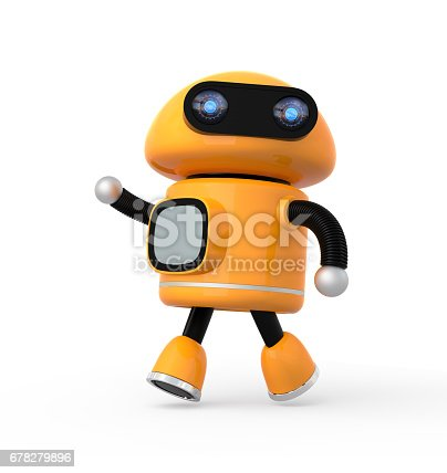 istock Cute orange robot isolated on white background 678279896