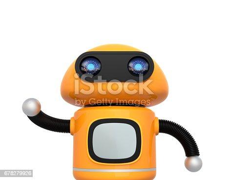 678279896 istock photo Cute orange robot isolated on white background 678279926