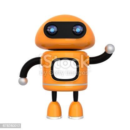 678279896 istock photo Cute orange robot isolated on white background 678280012