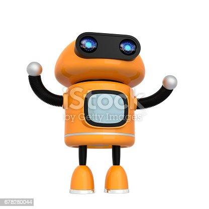 678279896 istock photo Cute orange robot isolated on white background 678280044