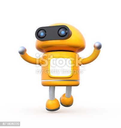 678279896 istock photo Cute orange robot with blank monitor is dancing on white background 871808220