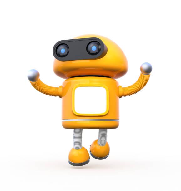 danse mignon robot orange avec moniteur blanc sur fond blanc - chatbot photos et images de collection