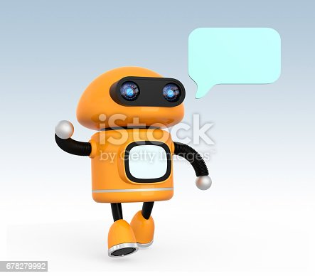 678279896 istock photo Cute orange robot with text bubble isolated on light blue background 678279992