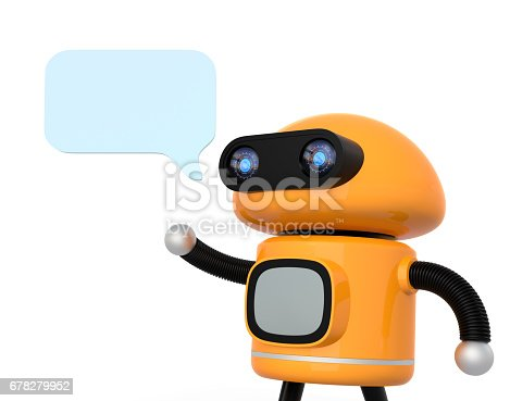 678279896 istock photo Cute orange robot with text bubble isolated on white background 678279952