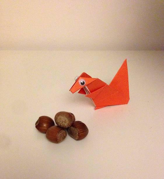 A cute origami squirrel. stock photo