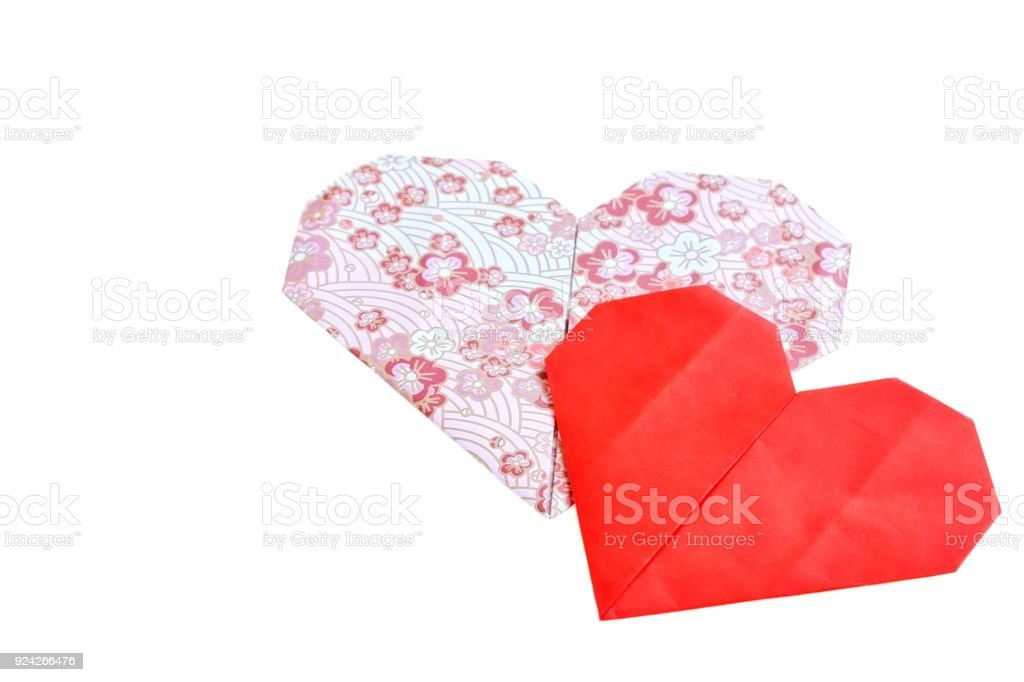 Cute Pink And Red Love Hearts Made Of Traditional Japanese Origami Paper stock photo