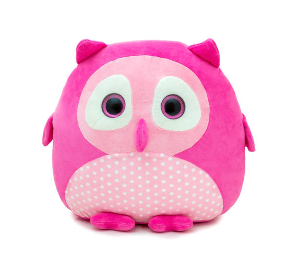 cute pinky owl doll isolated on white background with shadow reflection. owl the bird of prey on white backdrop. playful bright pink plush stuffed puppet bird toy for children. - pena de pássaro algodão imagens e fotografias de stock