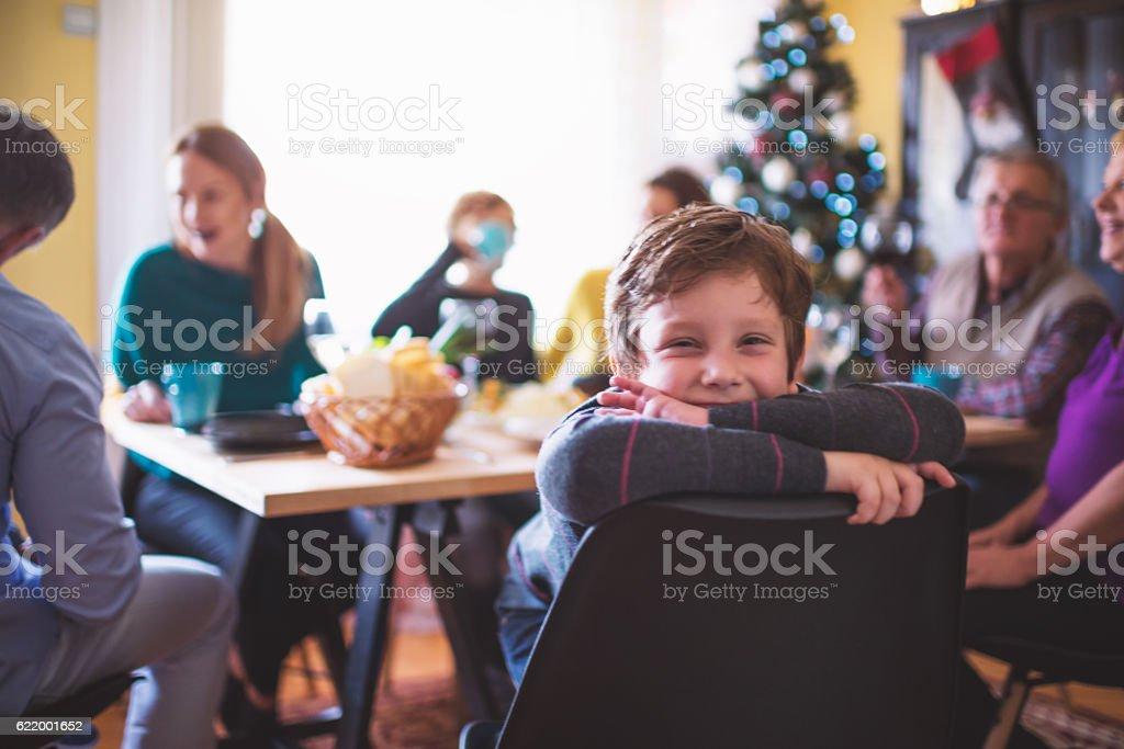 Cute Playful Boy at Christmas Dinner – Foto