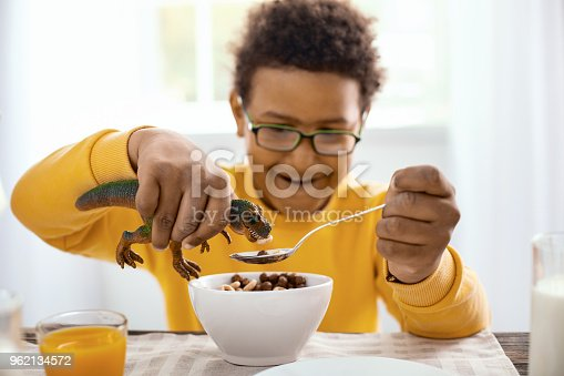 istock Cute pre-teen boy giving cereals to its toy dinosaur 962134572