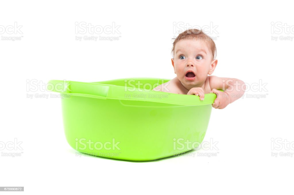 Cute Pretty Baby Boy Take Bath In Tub Stock Photo & More Pictures of ...