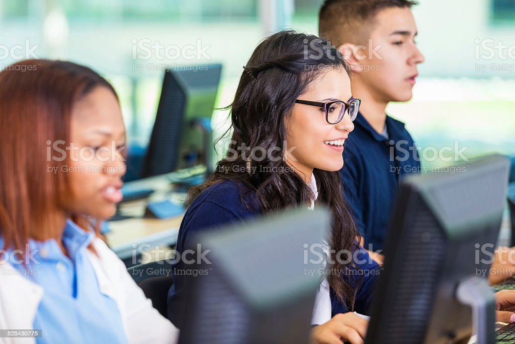Cute Private High School Student Taking Test On Computer