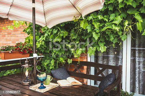 Cute private home balcony with lush grapevines as decoration and opened sun beach umbrella for shade in sunny summer day weather. Opened book, modern metal bulb lantern and cup on garden furniture.