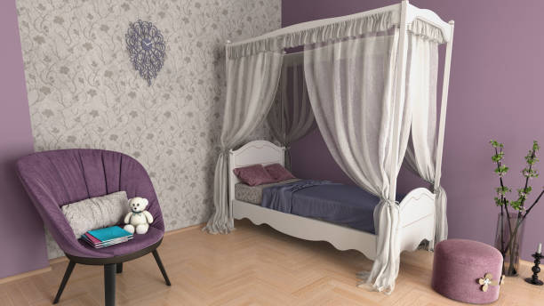 süße lila mädchenraum - lila teenschlafzimmer stock-fotos und bilder
