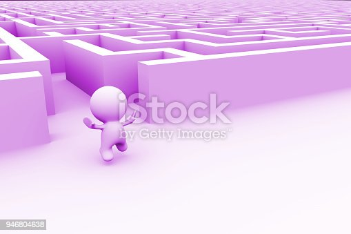 istock cute purple human character is very excited about finding the exit out of a huge maze (3d illustration on a white background) 946804638