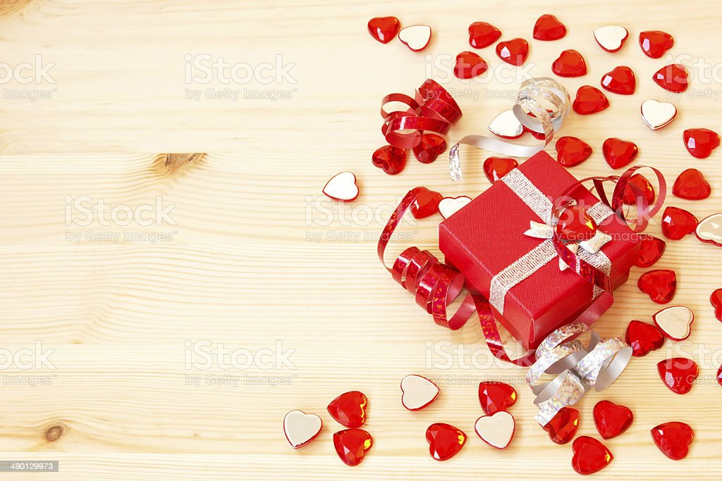 cute red gift box, ribbons and valentine's hearts royalty-free stock photo