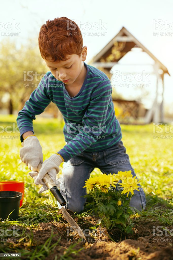 Cute red haired boy holding a spade royalty-free stock photo