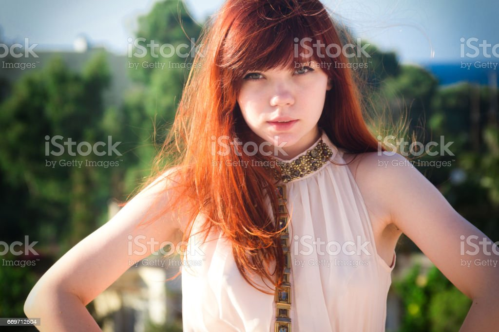 Cute Redhead Girl Looking Forward Stock Photo Download Image Now Istock