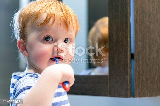Cute Redhead Toddler Boy Brushing his Teeth