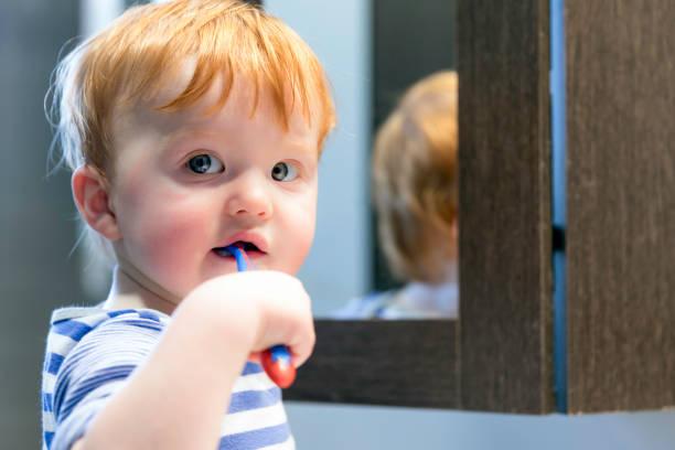 Cute Redhead Toddler Boy Brushing his Teeth stock photo