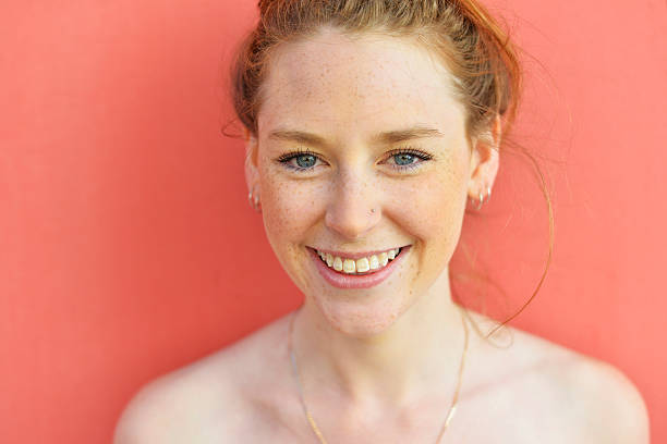 cute redhead with freckles - nose ring stock pictures, royalty-free photos & images