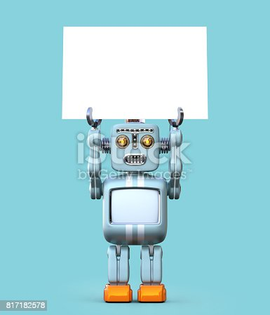 678279896 istock photo Cute retro robot holding white board isolated on blue background 817182578