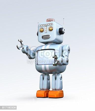 678279896 istock photo Cute retro robot isolated on gradient background 817180308