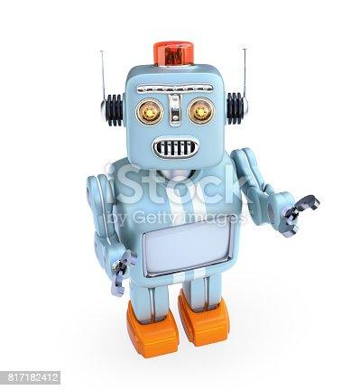 678279896 istock photo Cute retro robot looks up to the camera 817182412