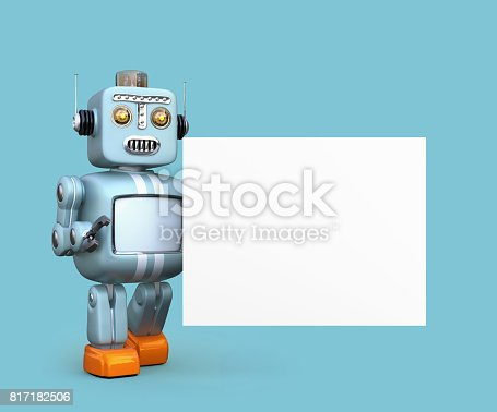 678279896 istock photo Cute retro robot with white board isolated on blue background 817182506