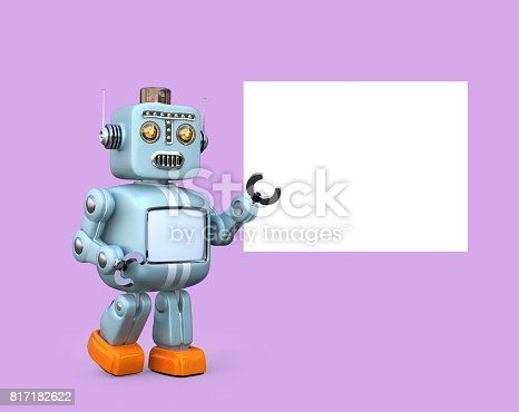 678279896 istock photo Cute retro robot with white board isolated on pink background 817182622