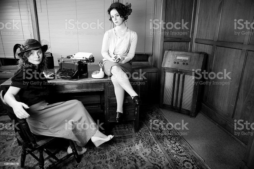 Cute retro Secretaries royalty-free stock photo