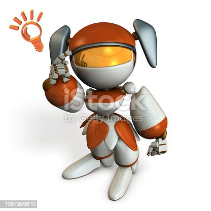 istock Cute robot boasts ability, pointing its head. 3D illustration.  White background. 1097359810