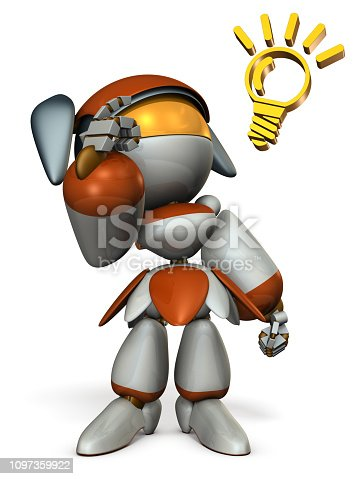 istock Cute robot boasts ability, pointing its head. 3D illustration.  White background. 1097359922