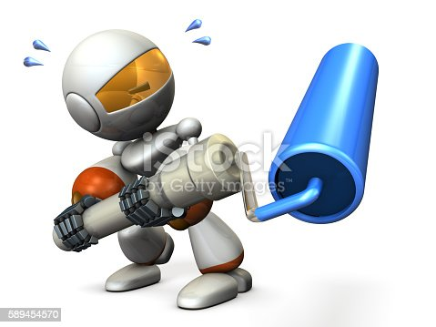589454570 istock photo Cute robot has a roller. He is painter. 589454570