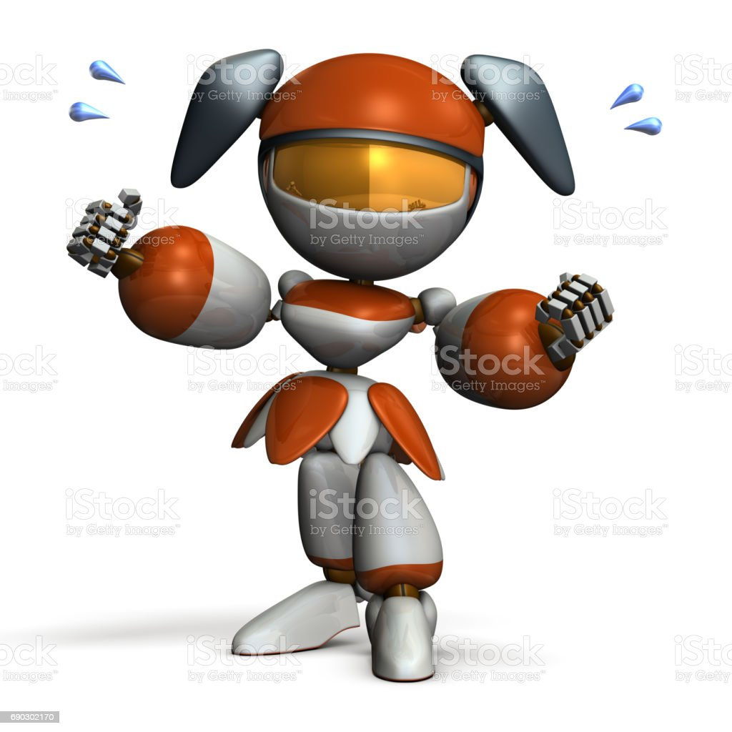 Cute robot supports your lives. stock photo