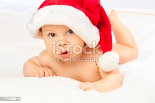 istock Cute Santa baby 177636548