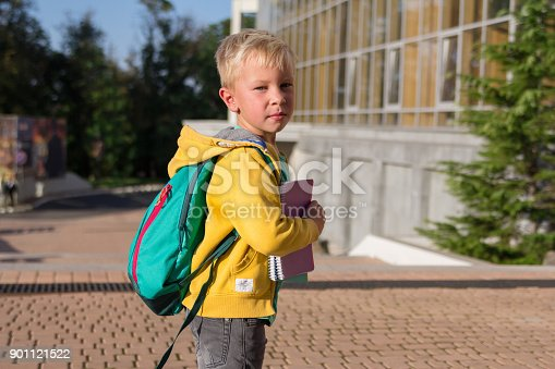 834369132 istock photo Cute schoolboy with books and a backpack 901121522