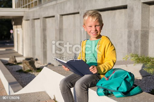 834369132 istock photo Cute schoolboy with books and a backpack 901125076