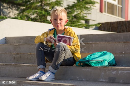 834369132 istock photo Cute schoolboy with books and a backpack 901126264